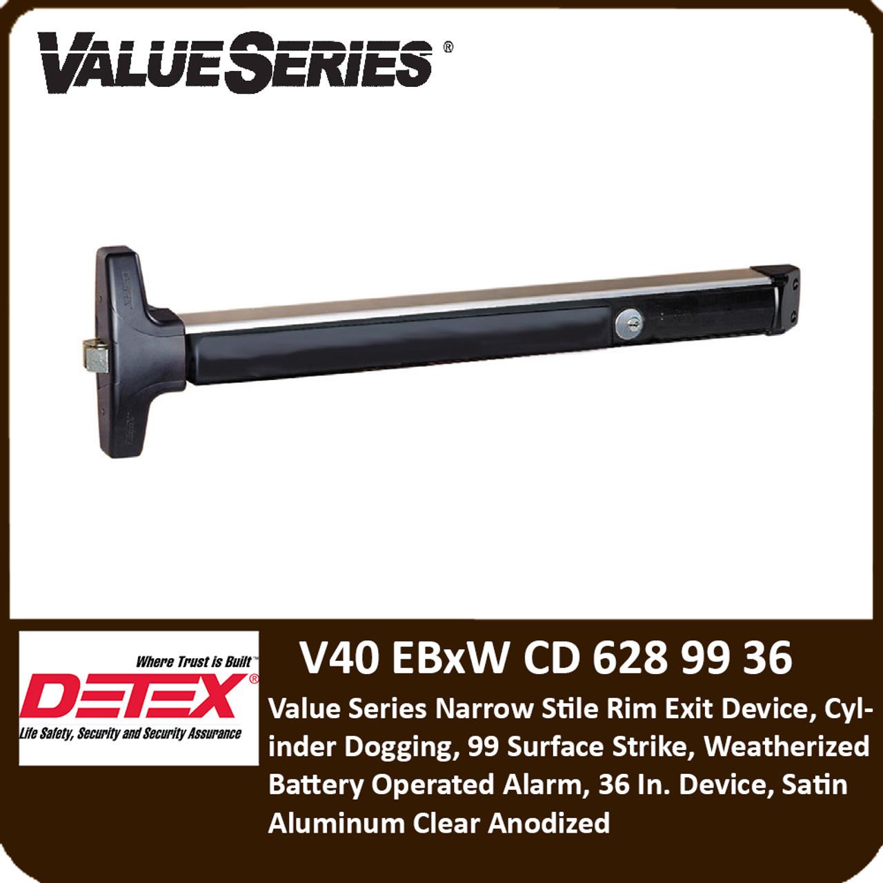 Series V40 Exit Device Satin Aluminum Rim Exit Device