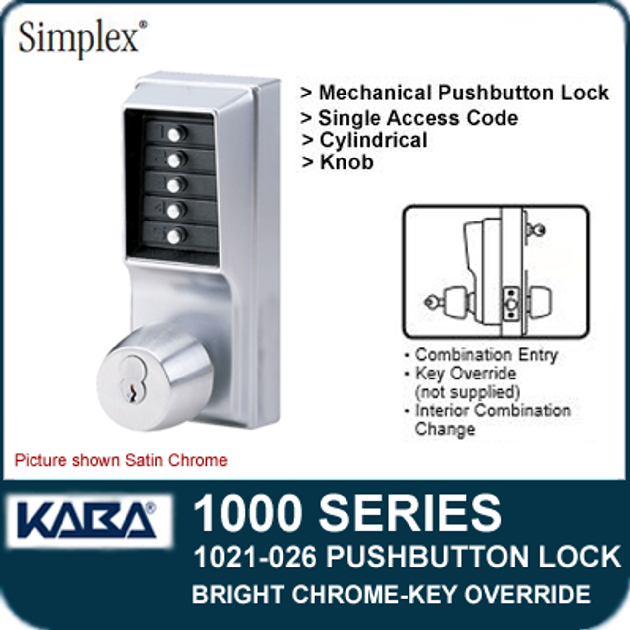 I//C Best and Equivalents Satin Chrome Finish 6 or 7 Pin Length Kaba Simplex LP1000 Series Metal Mechanical Pushbutton Exit Trim Lock with Lever Left Hand Kaba Ilco LLP1020B26D Core Not Included Combination Entry and Key Override
