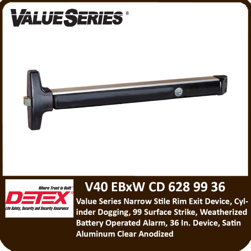 Detex v40 Series Rim Exit Devices(Weatherized)