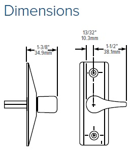 Adams Rite 4565 Deadlatch Handle Dimensions
