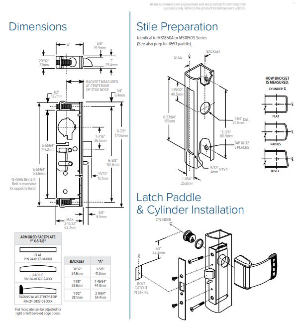 Adams Rite 4900 Heavy Duty Deadlatch Installation Dimensions | Aluminium Door Latches Installation Dimensions