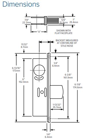 Adams Rite MS1850S Deadlock Dimensions | Adams Rite MS1850S Aluminium Door Deadbolt Dimensions
