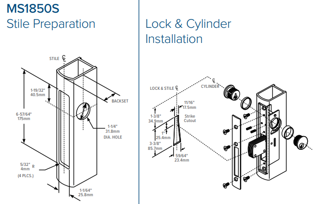 Adams Rite MS1850S Deadlock Stile Preparation | Adams Rite MS1850S Aluminium Door Deadbolt Stile Preparation