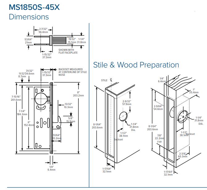 Adams Rite MS1851SN-45X Deadlock Door (w/ 1-1/2 Door Backset) Dimensions
