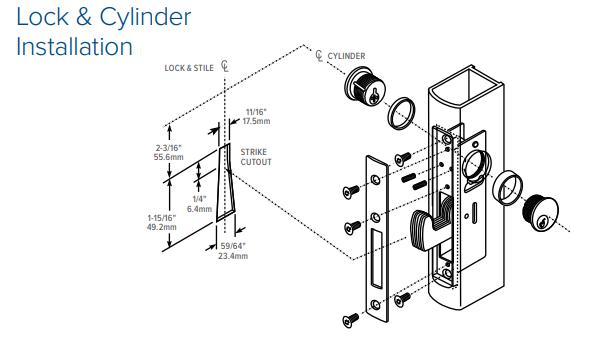 Adams Rite MS1851SN-45X Deadlock Door (w/ 1-1/2 Door Backset) Lock and Cylinder Installation