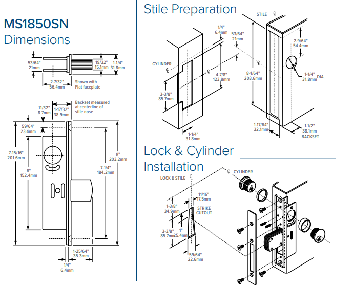 Adams Rite MS1850SN Ansi Lock Dimensions | Adams Rite MS1851SN Deadlock Dimensions