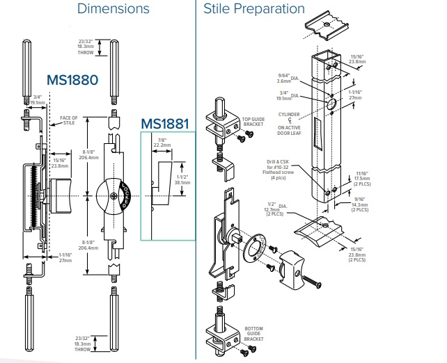 Adams Rite MS1880 Two Point Flushbolt Dimensions