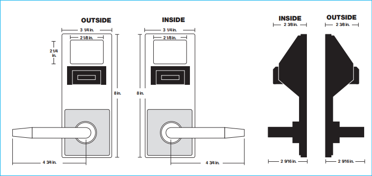 Alarm Lock PDL5375 Inside Outside Diagram | Alarm Lock PDL5375IC Inside Outside Diagram