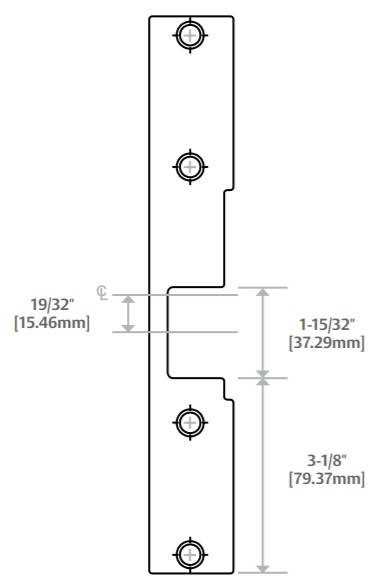 HES KM-2 Faceplate Dimensions | HES KM2 Faceplate Dimensions