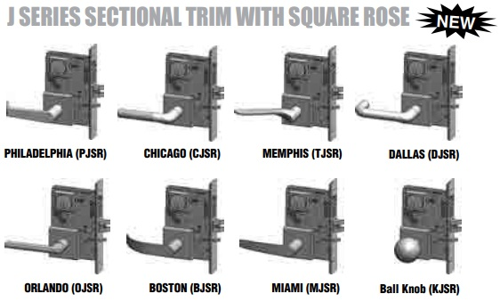 PDQ Mortise Lock J Sectional Trim with Square Rose