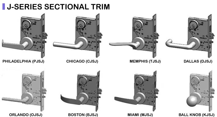 PDQ MR Grade 1 Mortise Indicator Locks J Sectional Trim Lever