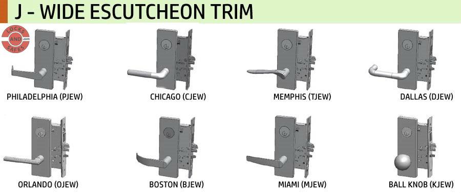 MR Levers | PDQ Mortise Locks J Wide Escutcheon Trim