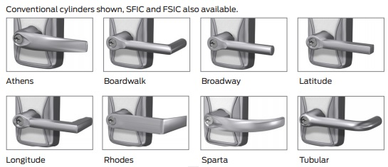 Schlage AD-200 Series Lever Styles | Schlage AD 200 Series Lever Styles