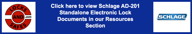 View Schlage AD-201 Standalone Electronic Lock Documents | View Schlage AD-201 Cut Sheets