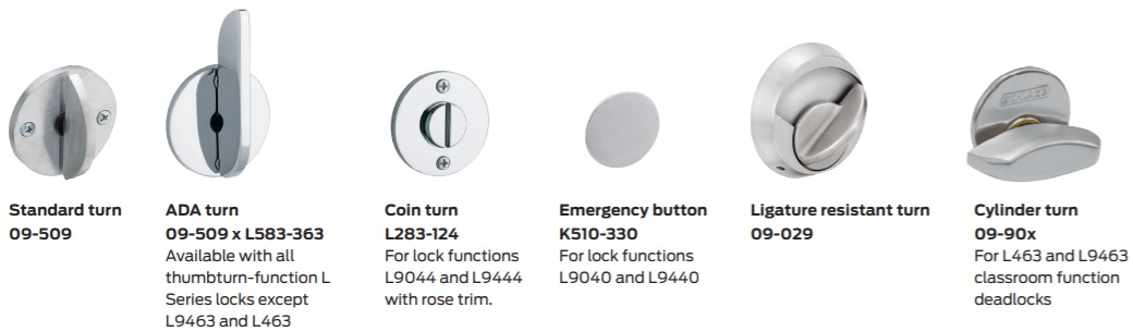 Thumbturn options for Schlage Electrified Mortise Locks | ADA thumbturn option for Schlage Mortise Locks