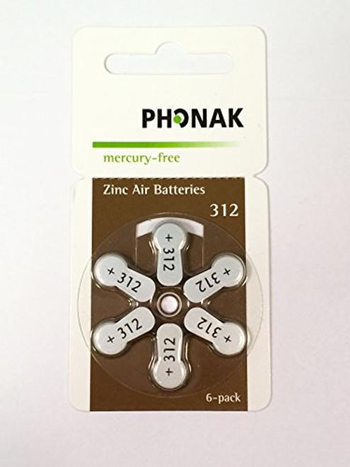 Phonak Mercury Free Size 312 Zinc Air Hearing Aid Batteries (60 batteries)