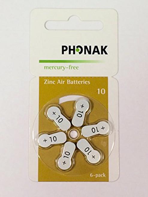 Phonak Mercury Free Size 10 Zinc Air Hearing Aid Batteries (60 batteries)
