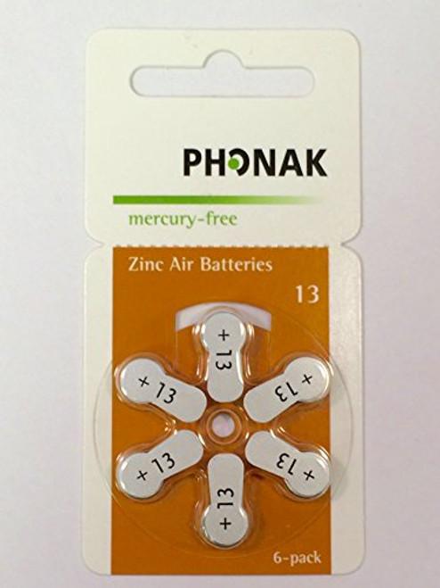 Phonak Mercury Free Size 13 Zinc Air Hearing Aid Batteries (60 batteries)