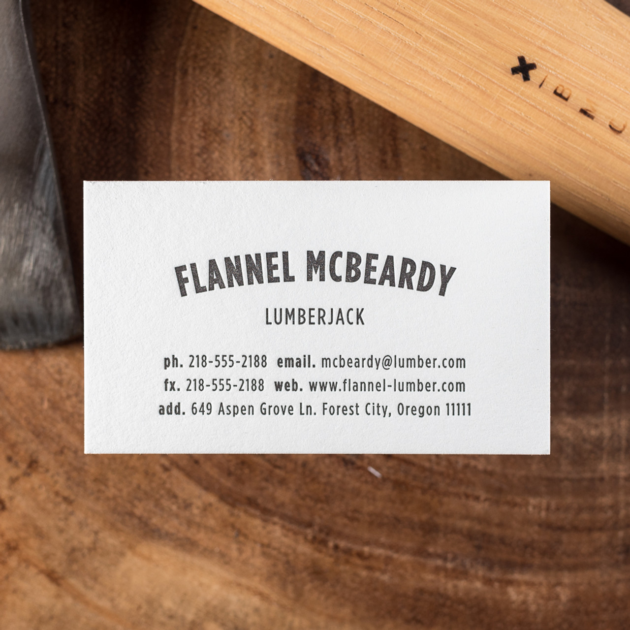 The Lumberjack An Affordable Letterpress Business Card