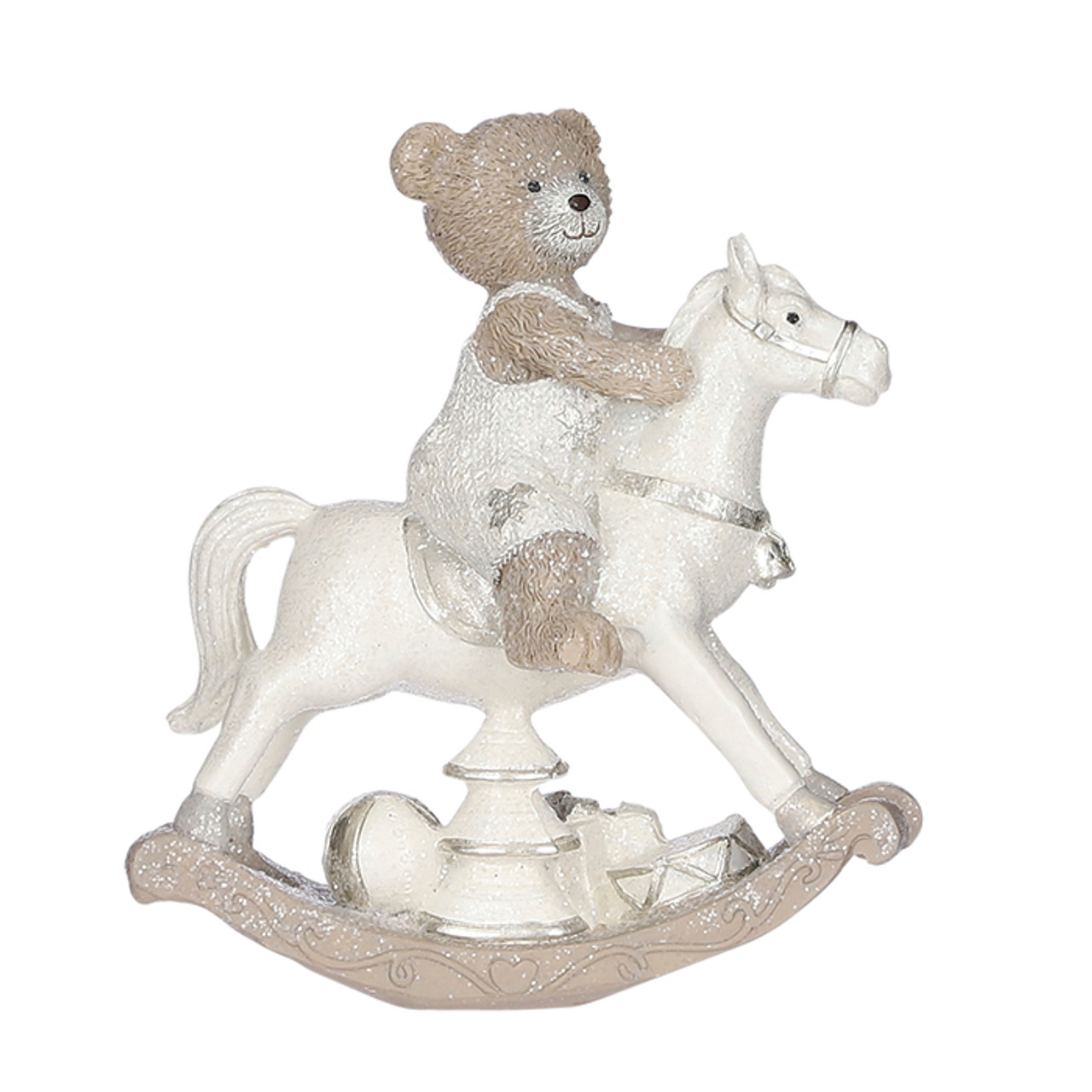 Bear Brown On Rocking Horse Ornament 13x6 5x15cm The Orchard Garden Centre