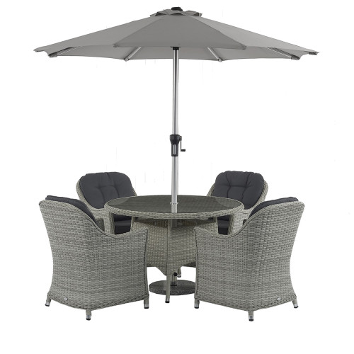 Monterey 120cm Round Table with 4 Armchairs & Parasol