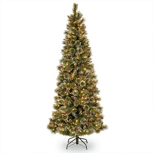 Glittery Bristle Pine Prelight Christmas Tree 7.5ft
