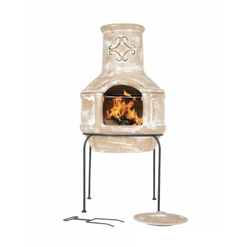 Spanish Scroll Clay Chimenea
