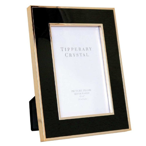 """Tipperary Crystal Black Enamel Frame with Rose Gold Edges -4""""x6"""""""
