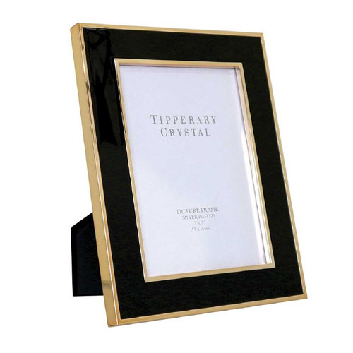 """Tipperary Crystal Black Enamel Frame with Rose Gold Edges -5""""x7"""""""