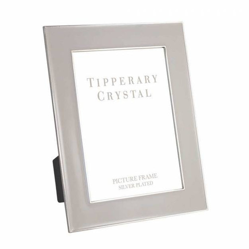 "Tipperary Crystal 8""X10"" Grey Enamel Frame With Silver Edging"