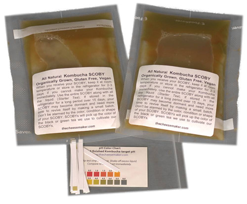 Two Kombucha (SCOBYS)Mother Cultures & pH Strips/Recipe