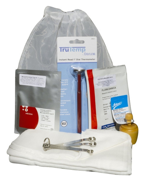 Deluxe Cultured Butter/Buttermilk Making Kit with Butter Press & Butter Stamp-5 Units Wholesale