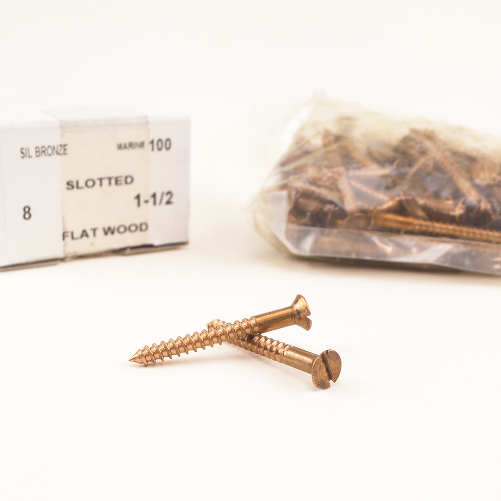 Silicon Bronze Wood Screws - available in a variety of gauges and lengths.