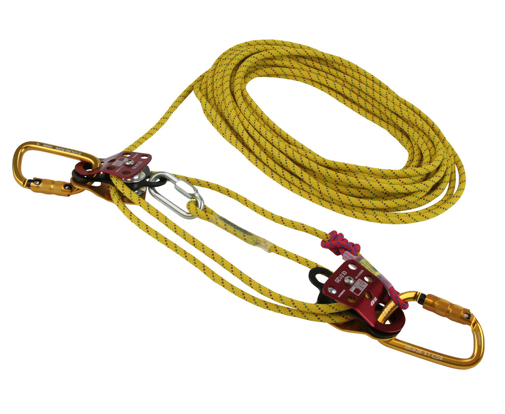 Sterling Pocket Hauler rope, pulley, and carabiner mechanical purchase system.