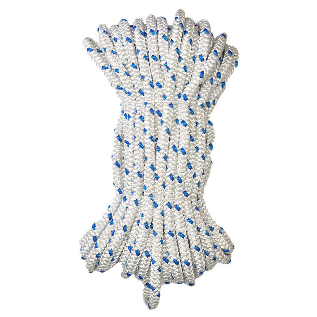 Yale XTC-12 twelve strand hollow core rope - white with blue tracer.