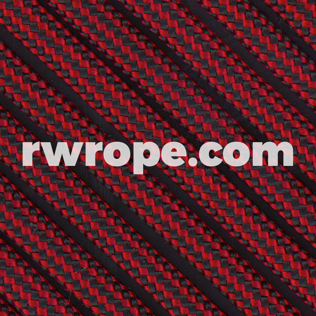 Paracord 550 in Imperial Red & Black Stripe
