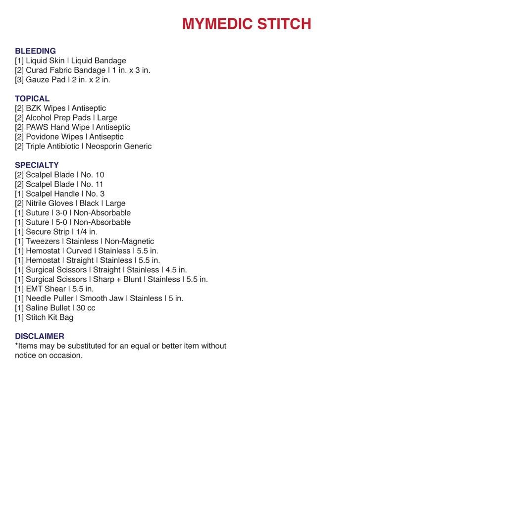 MyMedic Stitch suture kit contents