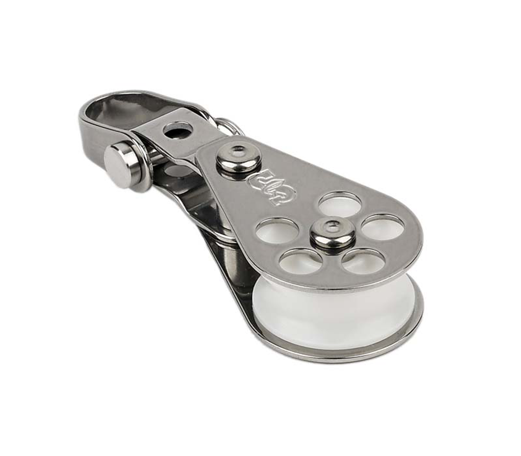 """Single block with front-side shackle. Delrin(tm) sheave on plain bearing ensures smooth operation and high static load safe working loads. Sheave Dia. 1 1/16"""" (27mm), Thickness 19/32"""" (15mm), Width 1 3/16"""" (30mm), Length 3 15/32"""" (88mm), SWL 900 lbs, Weight 1.75 oz (50g), Max Line 5/16""""(8mm)"""