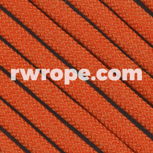 650 Flat Coreless Paracord in orange.