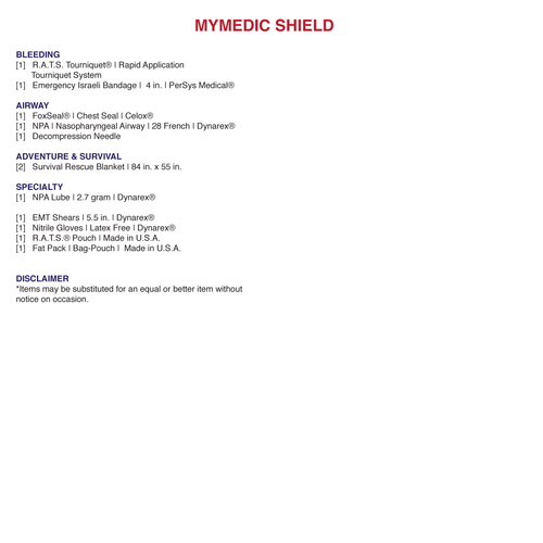 MyMedic Shield trauma First Aid Kit contents