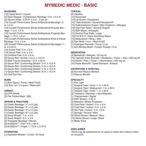 MyMedic MEDIC backpack First Aid Kit content list