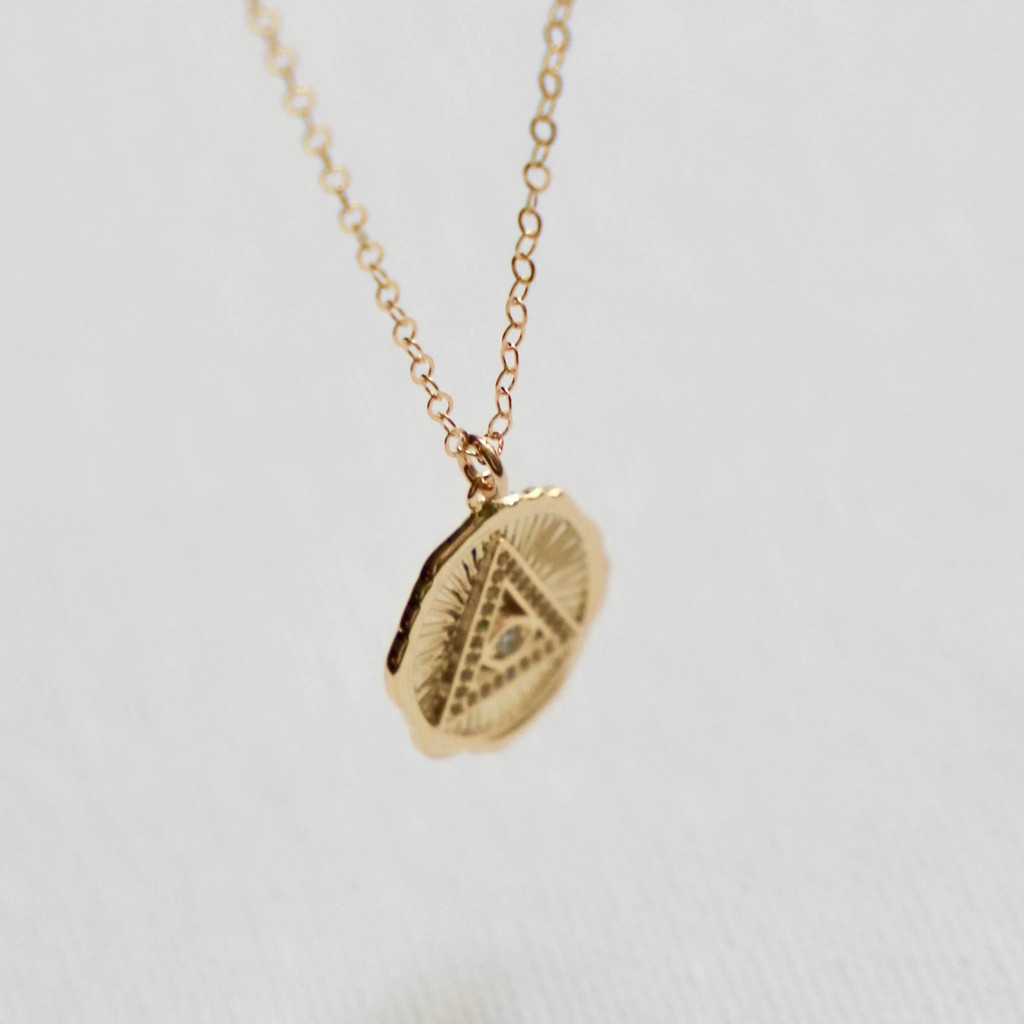 PYRAMID & EVIL EYE MEDALLION NECKLACE