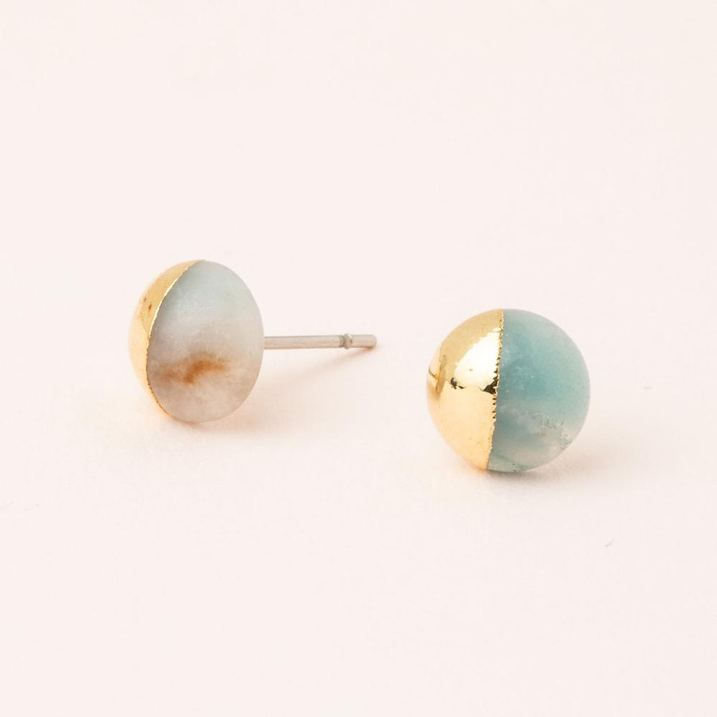 GOLD DIPPED AMAZONITE STUD