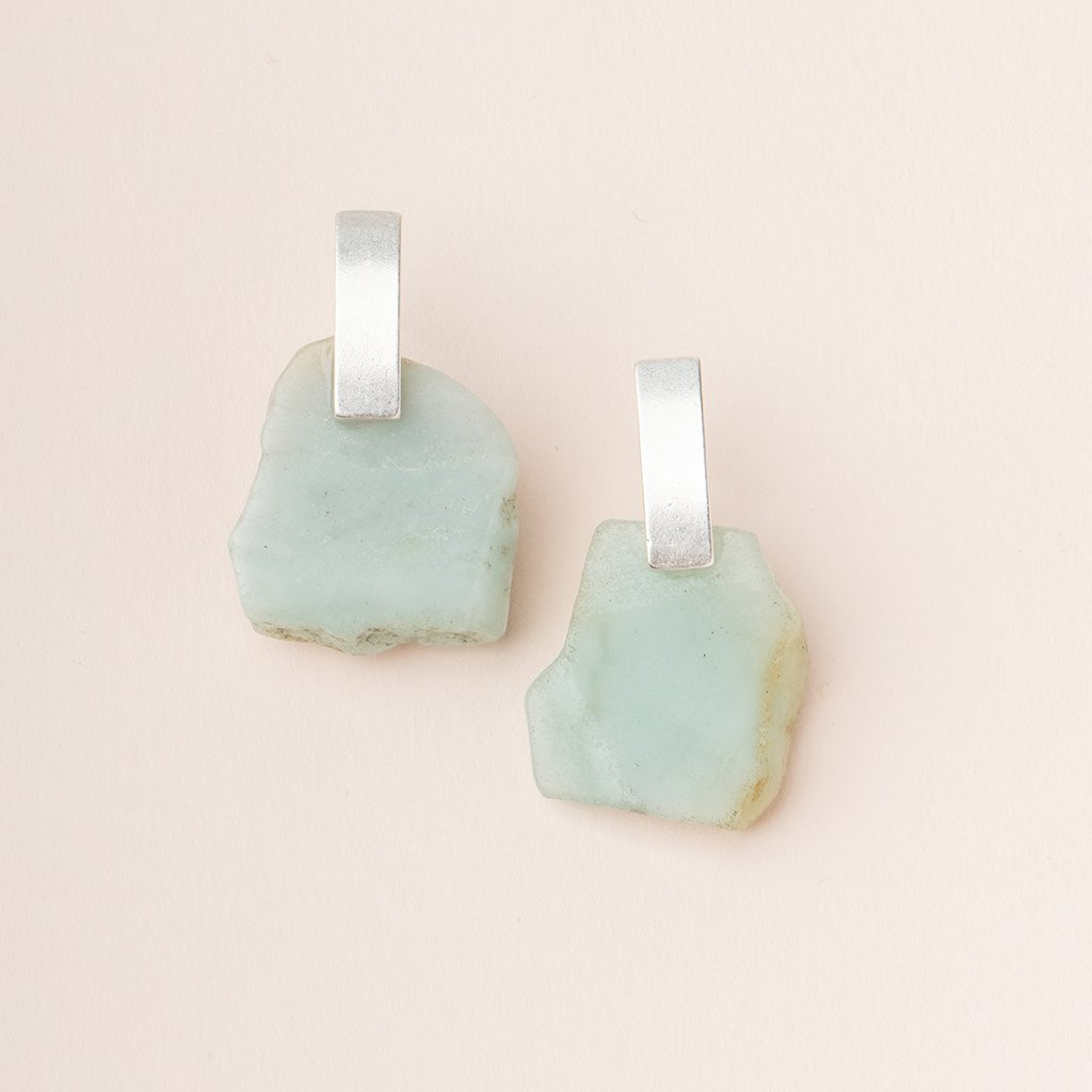 AMAZONITE/SILVER SLICE EARRING