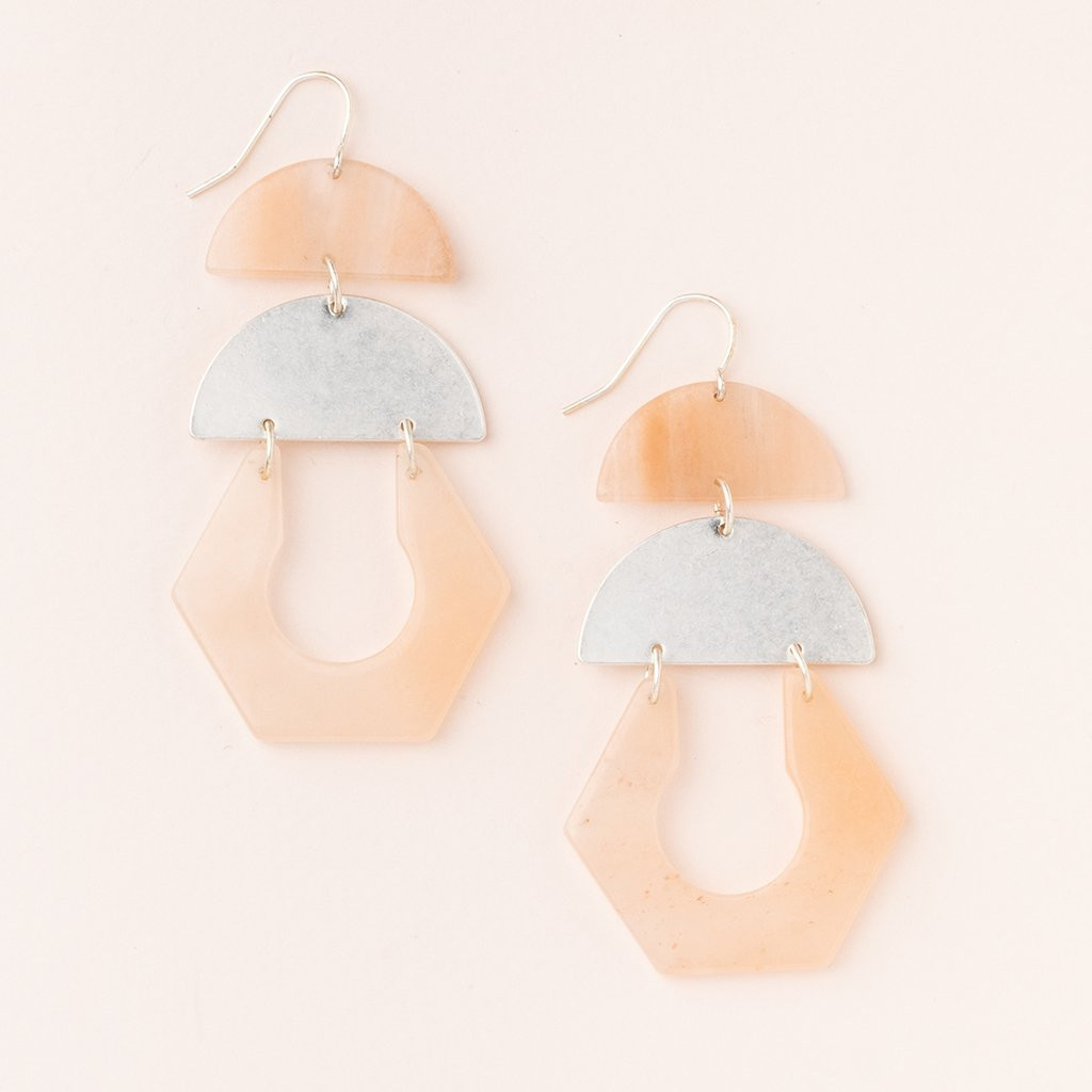 SUNSTONE SILVER CUTOUT EARRINGS