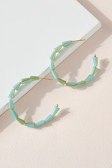 TURQUOISE STACKED BEAD HOOPS