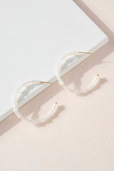 WHITE STACKED BEAD HOOPS