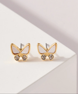 GOLD SHELL BUTTERFLY STUDS