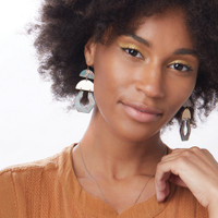 AQUA SILVER CUTOUT EARRINGS