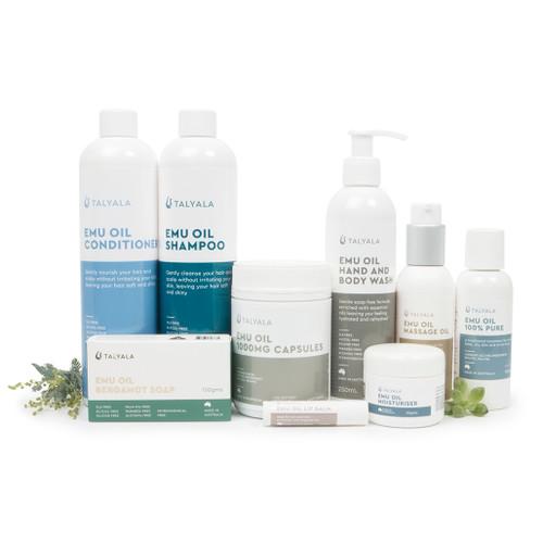 Pack 9: Shampoo, Conditioner, Body Wash, Pure Oil, Massage Oil, Capsules, Soap, 50g Moisturiser, Lip Balm